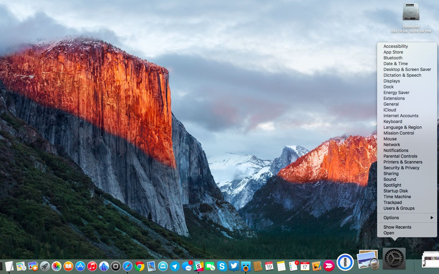OS X El Capitan System Preferences Dock shortcut Mac sceenshot 001