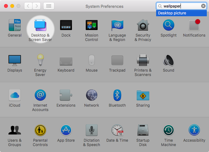 OS X El Capitan System Preferences search Captura de pantalla de Mac 002