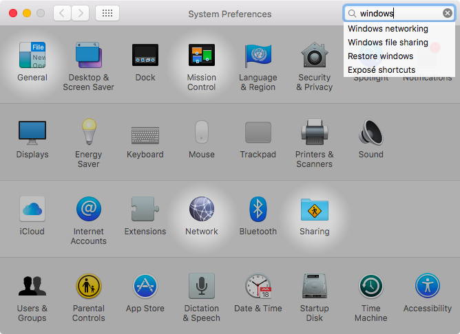 OS X El Capitan System Preferences search Captura de pantalla de Mac 003