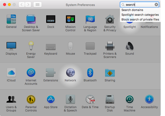 OS X El Capitan System Preferences search Captura de pantalla de Mac 004