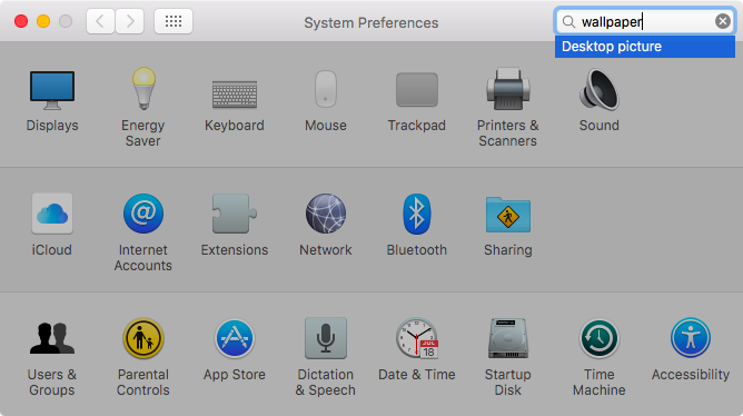 OS X El Capitan System Preferences search Captura de pantalla de Mac 005