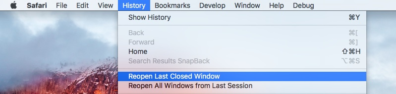 Safari El Capitan Reopen Last Closed Windows Mac screenshot 001