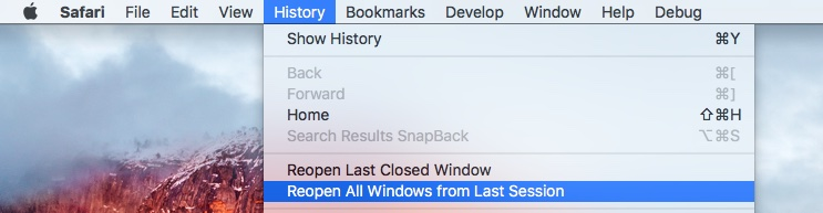 Safari El Capitan Reopen all Windows from Last Session Mac screenshot 001