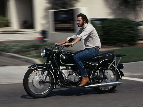 Steve Jobs on easy rider motorbike