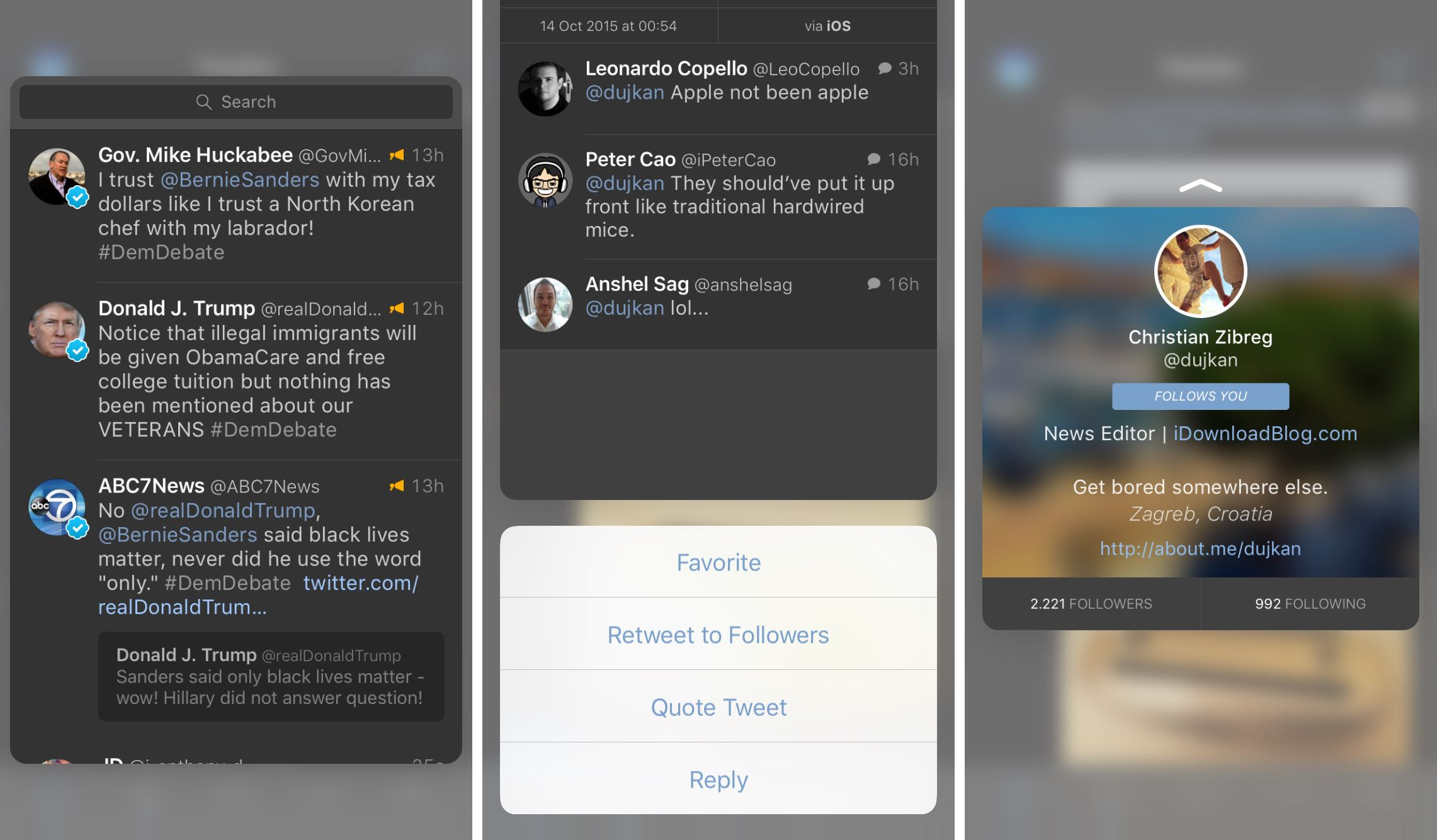 Tweetbot 4.0.1 para iOS 3D Touch iPhone captura de pantalla 002