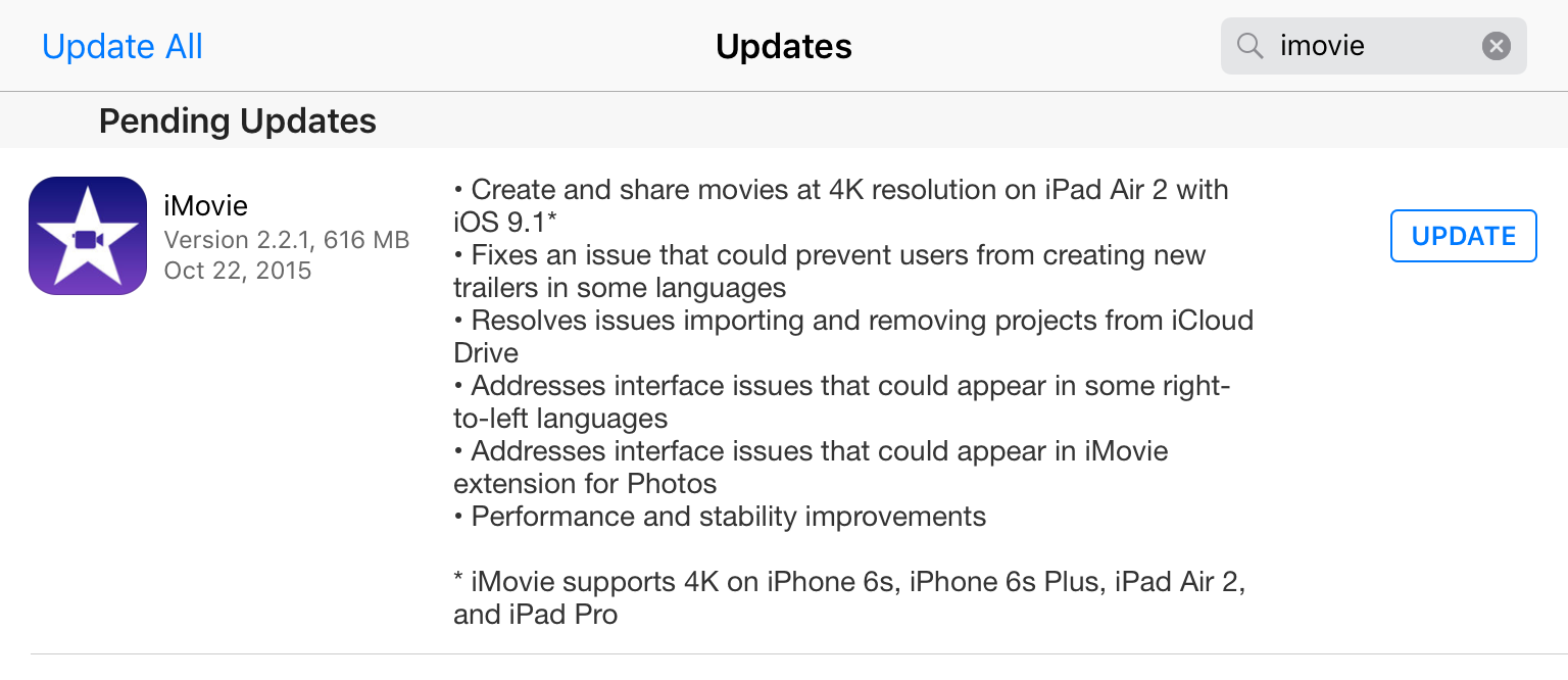 iMovie 2.2.1 4K Video editing iPad Air 2