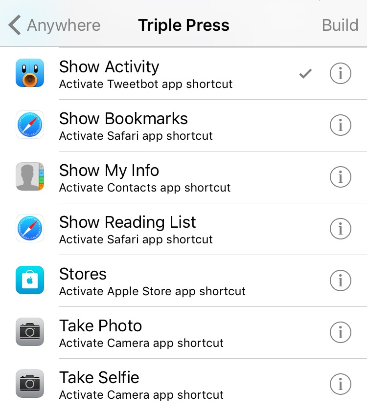 iOS 9 SHortcut Actions Activator