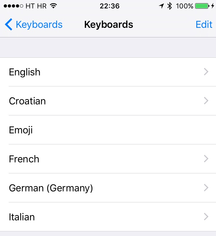 iOS 9 Settings Keyboards iPhone screenshot 001
