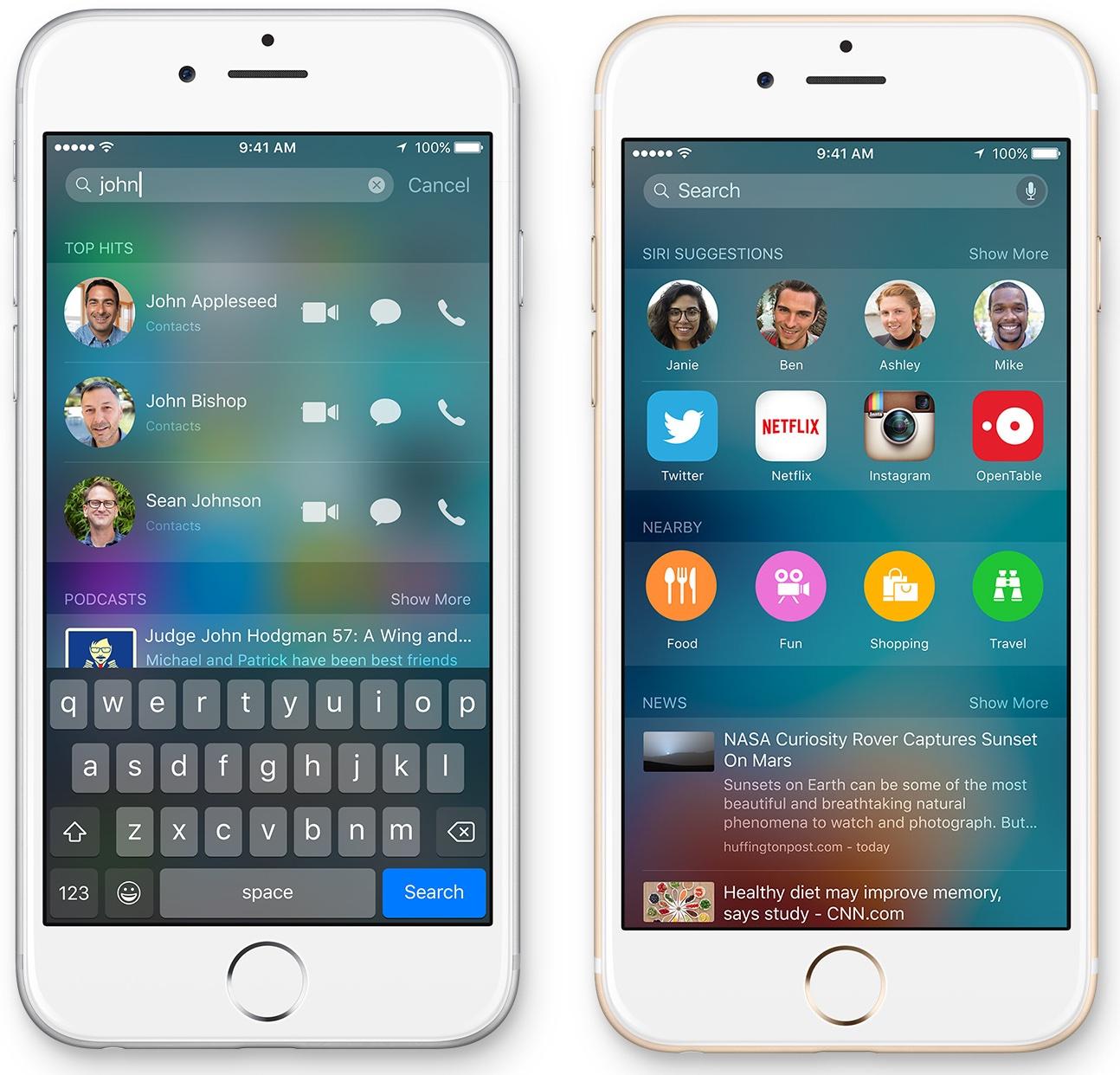iOS 9 Spotlight Relevant People iPhone screenshot 003