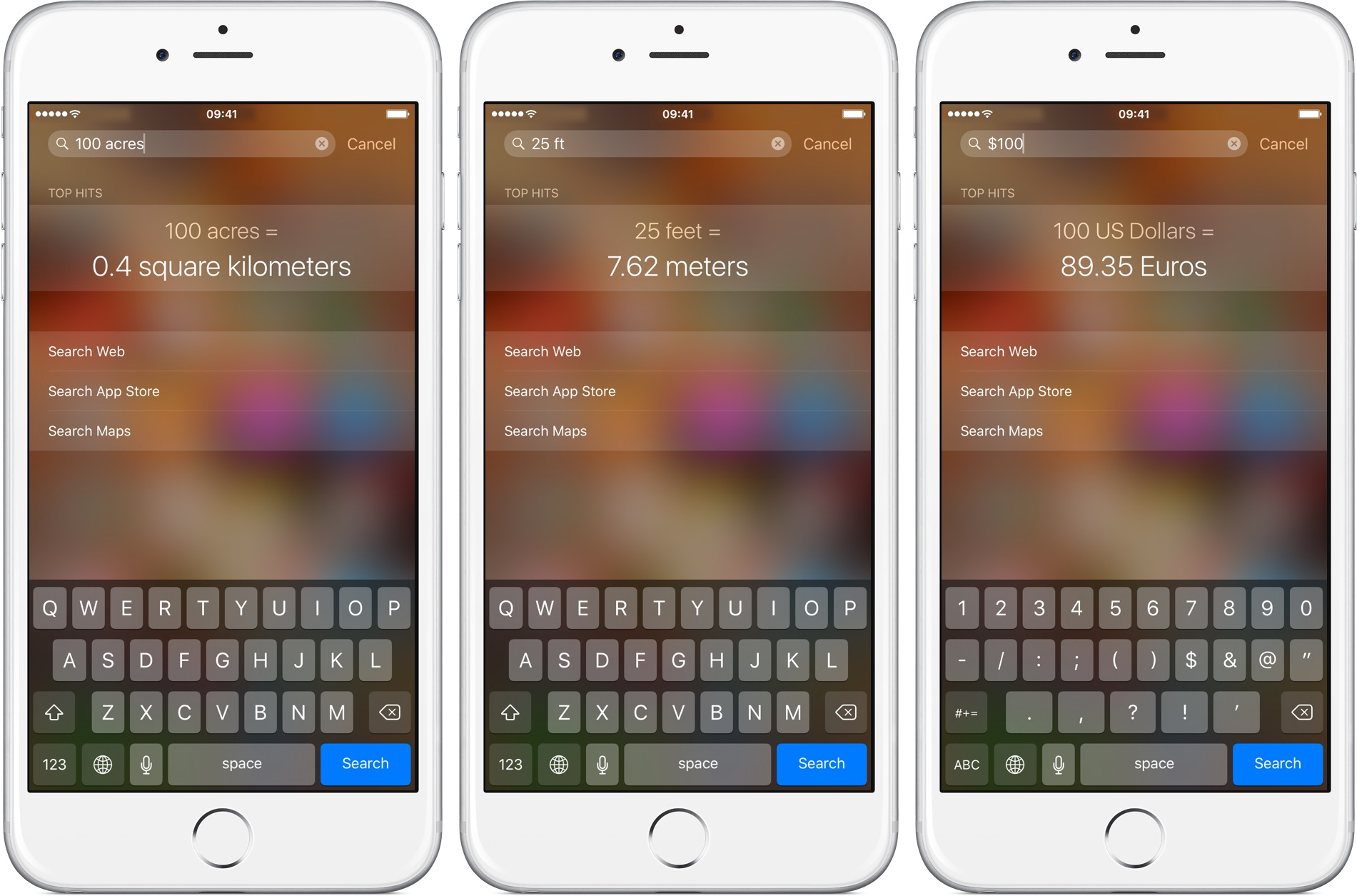 iOS 9 Spotlight unit and currency conversion