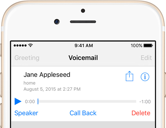 how do you record a voicemail message on iphone 6