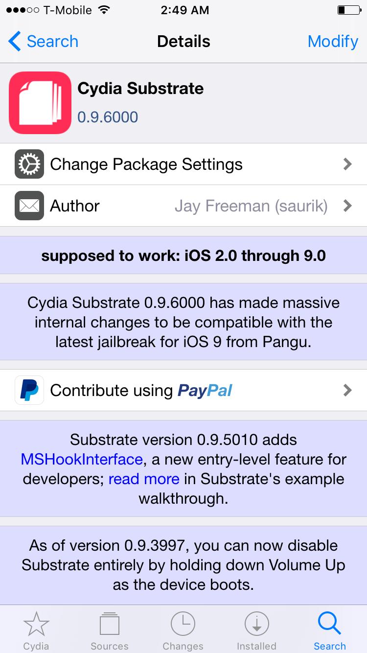 iOS 9 jailbreak Cydia Substrate