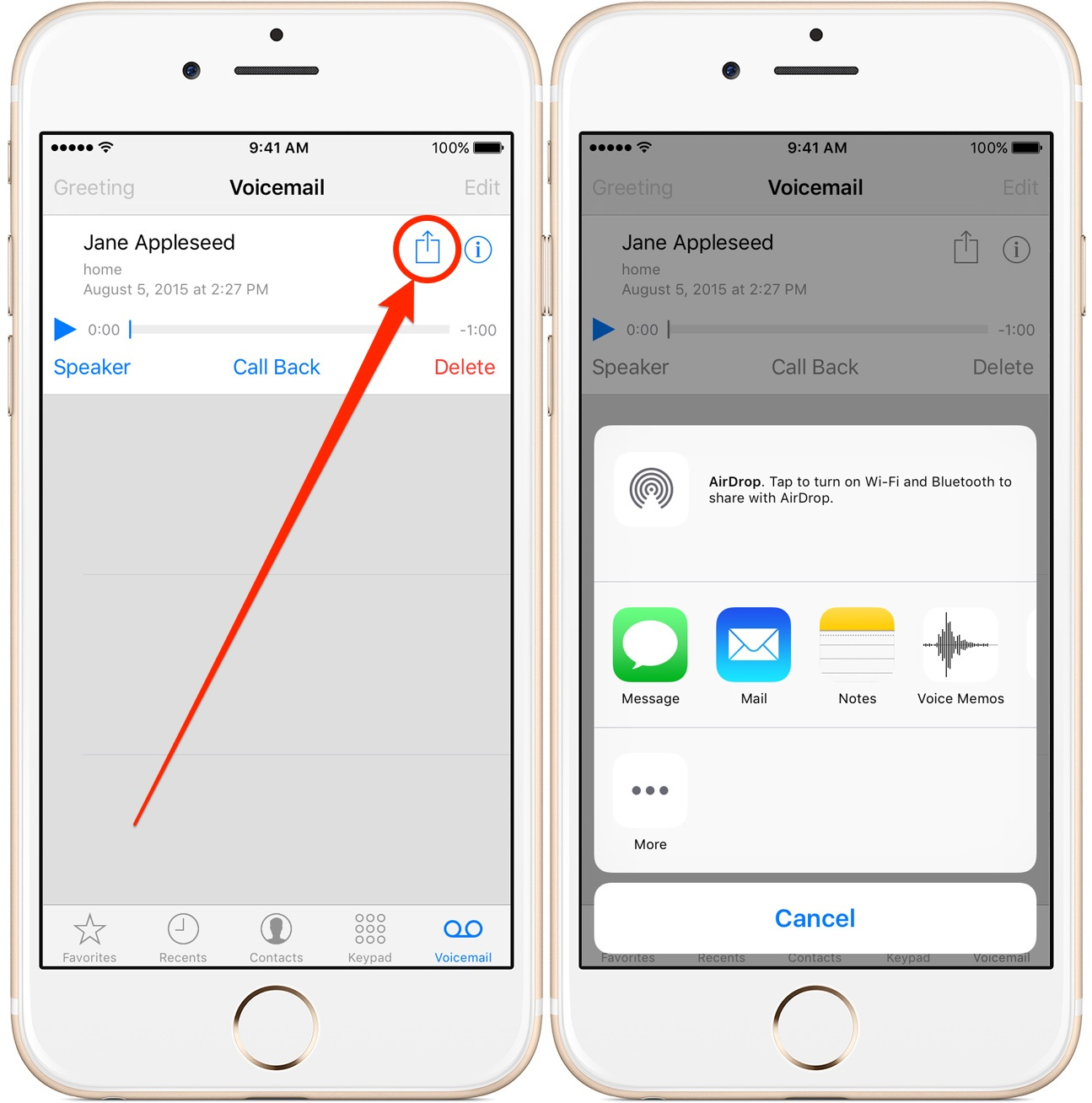 How to save your iphone voicemails as notes or voice memos or share ios9voicemailsharingiphonescreenshot002 m4hsunfo