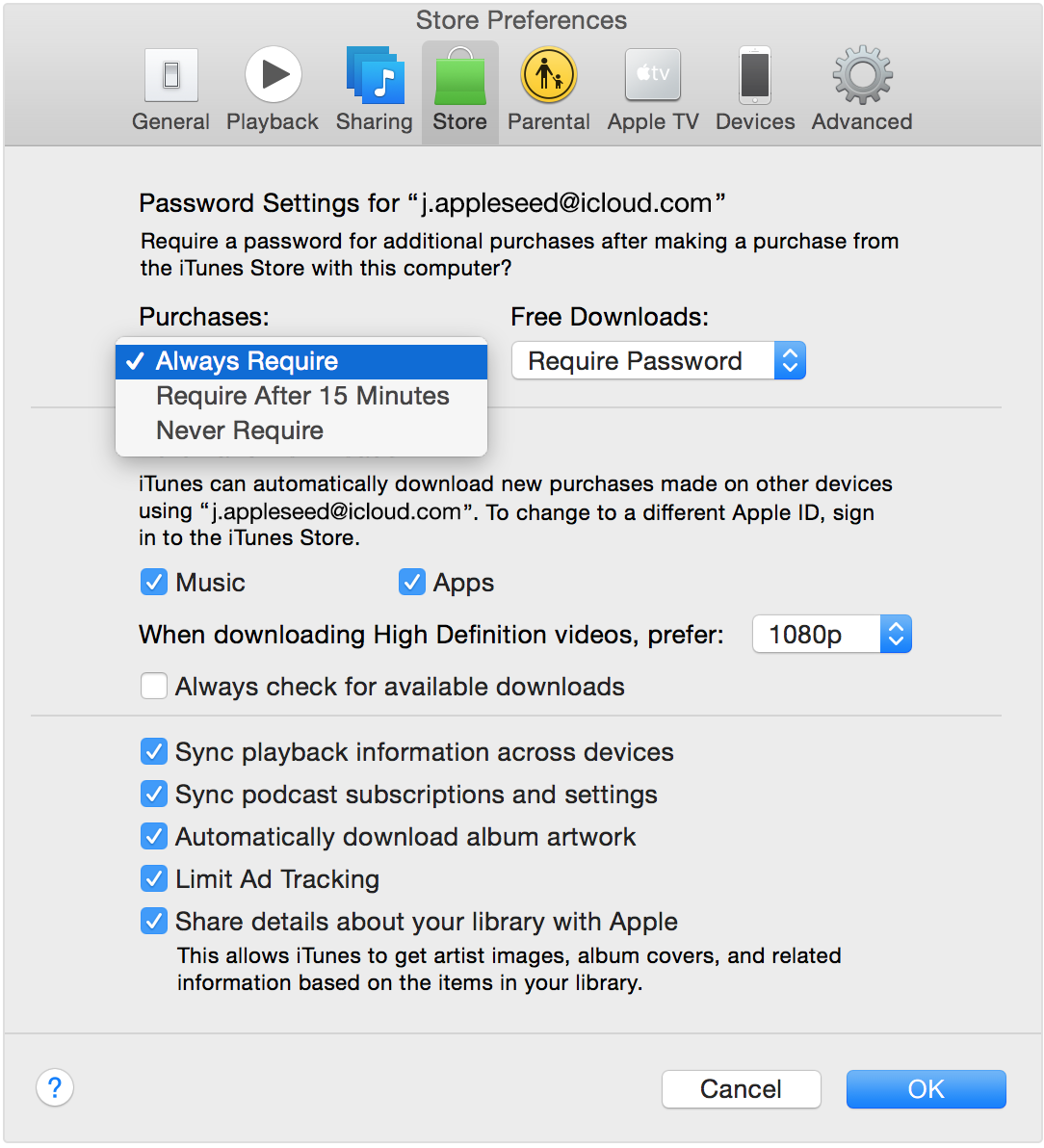 iTunes store password settings Mac screenshot 001