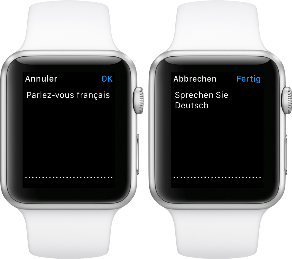 watchOS 2 Dictation language Apple Watch screenshot 001