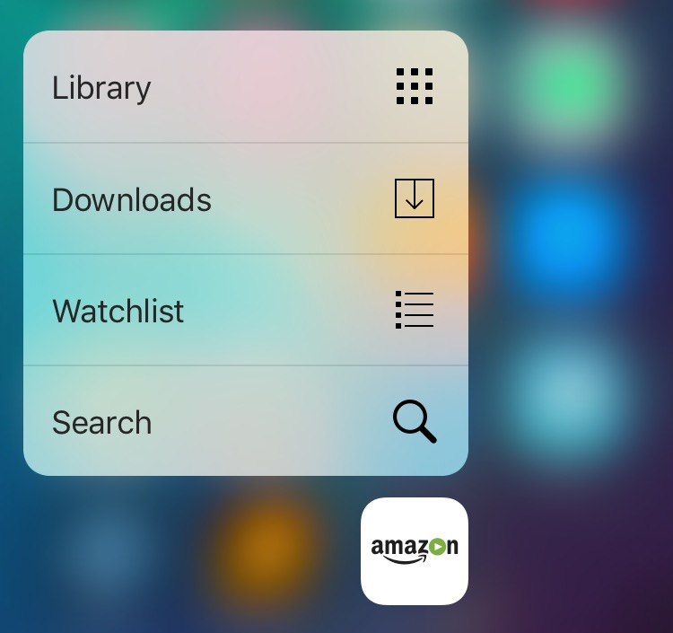 Amazon Video 3.3 for iOS 3D Touch Home screen shortcuts iPhone 6s screenshot 001
