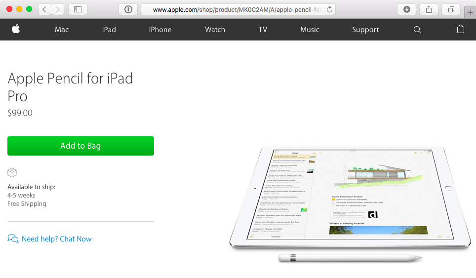 Apple Online Store Apple Pencil wait times 4-5 weeks web screenshot 001