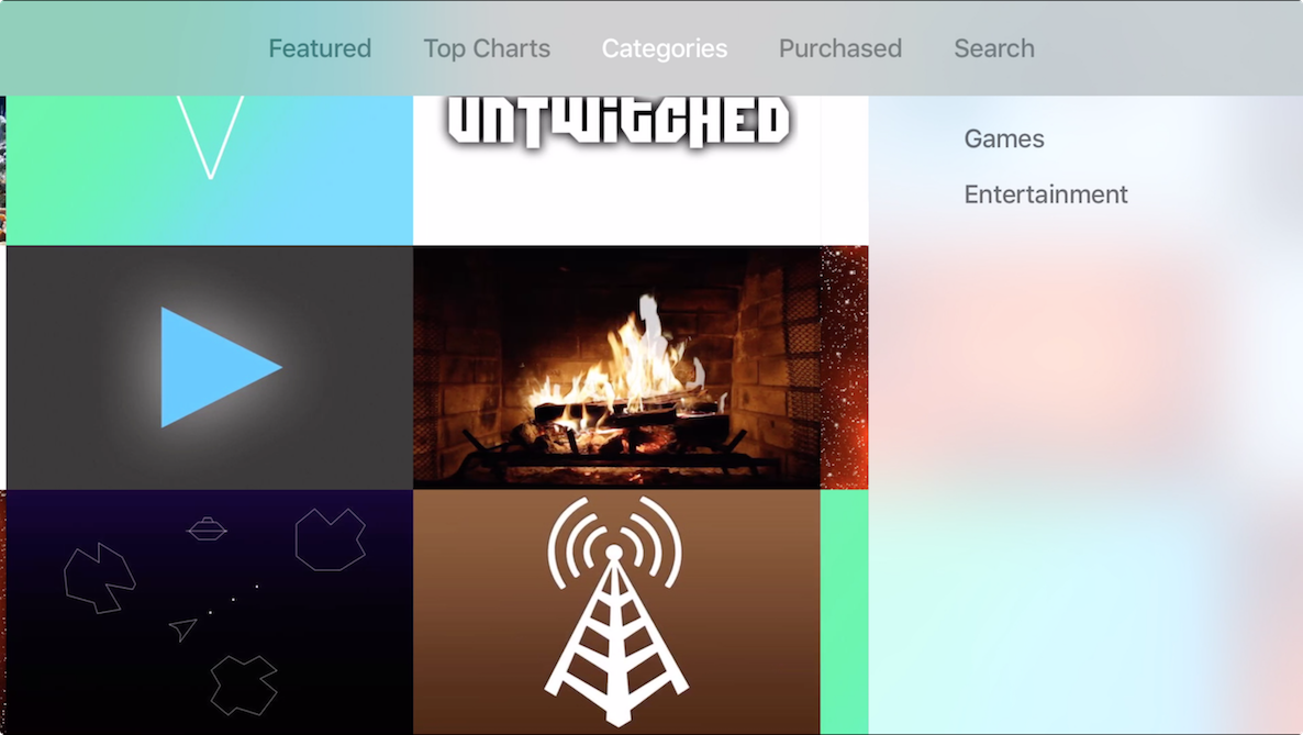 Apple TV App Store Categories 2