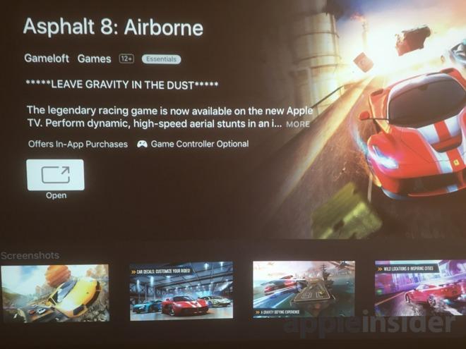 Asphalt 8 Airborne Apple TV App Store controlador de juegos flag AppleInsider captura de pantalla 001