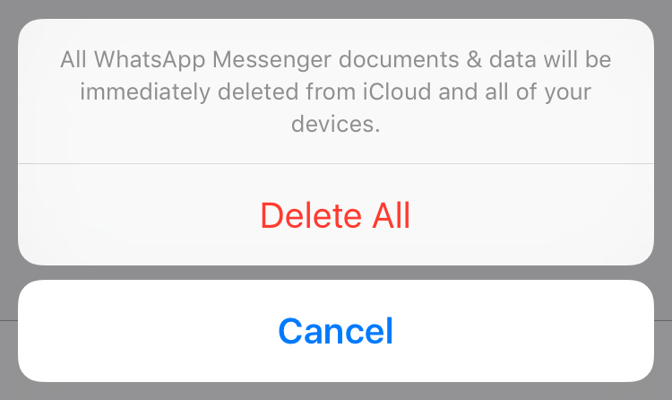 Delete documents and data iCloud on iOS
