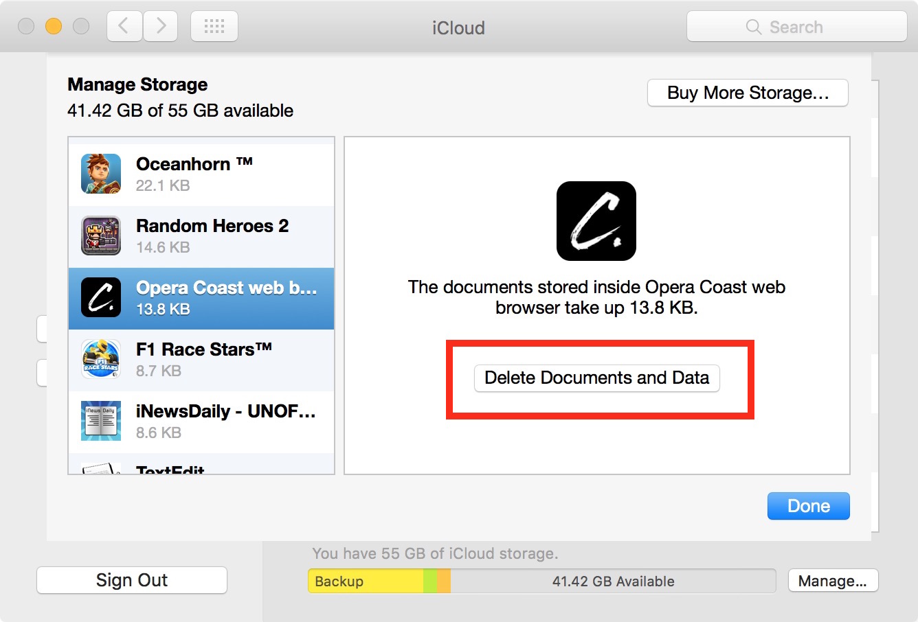 Delete icloud documents and data Mac