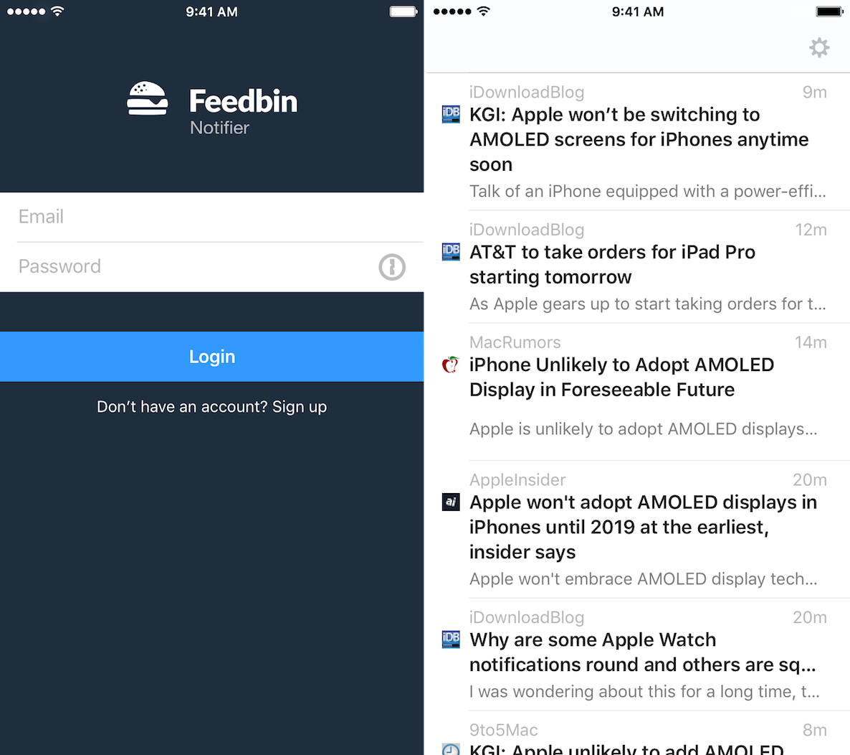 Feedbin Notifier iPhone