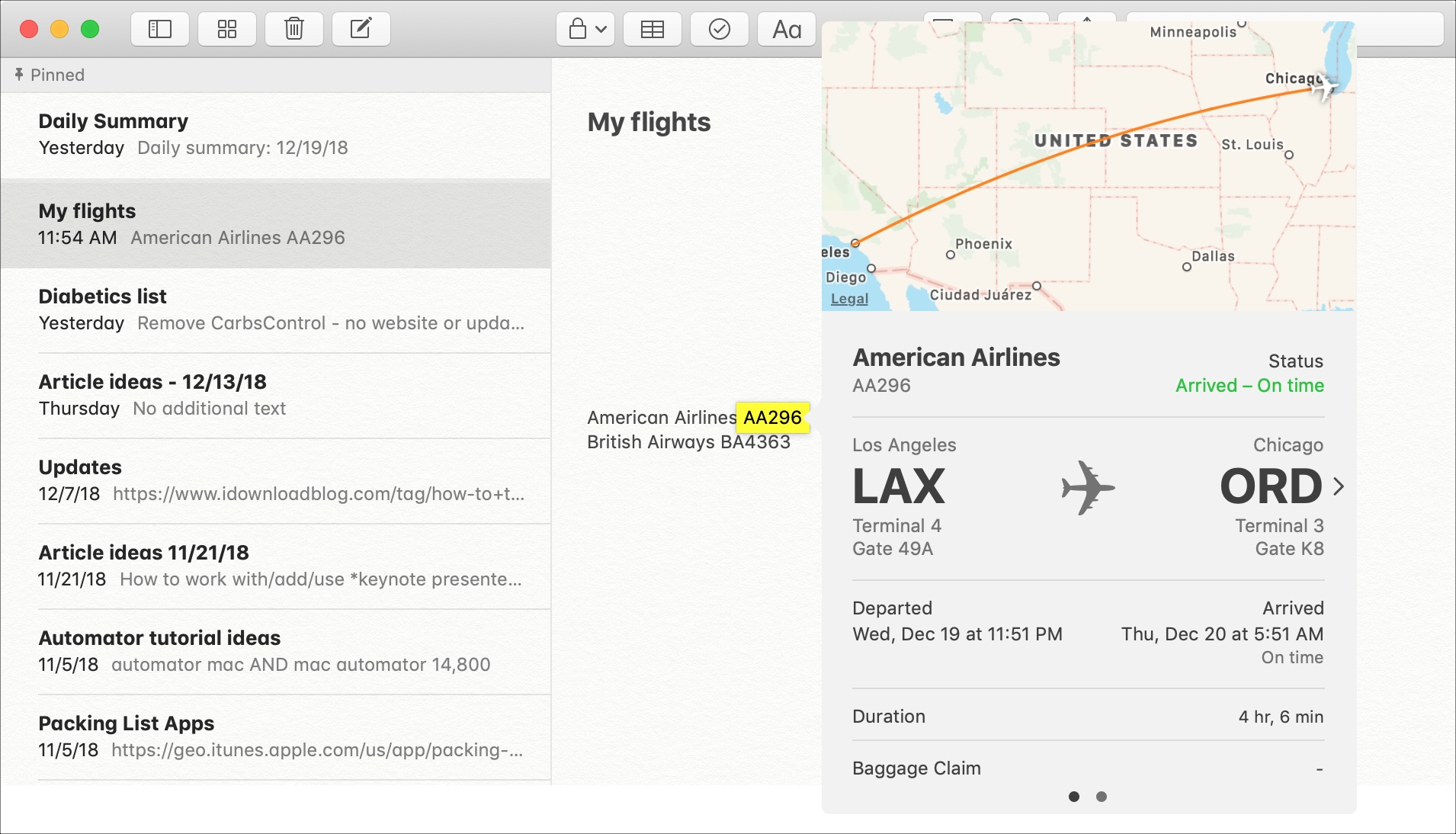 Flight Preview in Notes on Mac