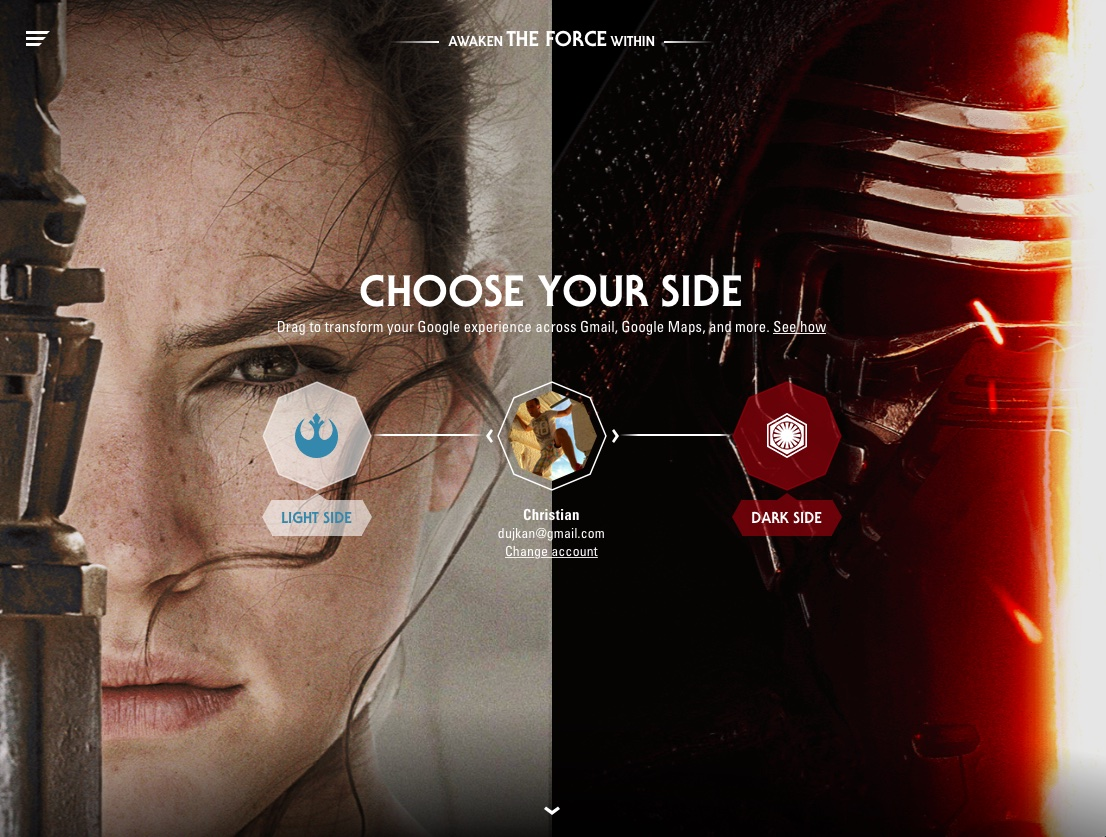 Cool Google Promotion Asks You To Join The Dark Or Light Sides Of The Force