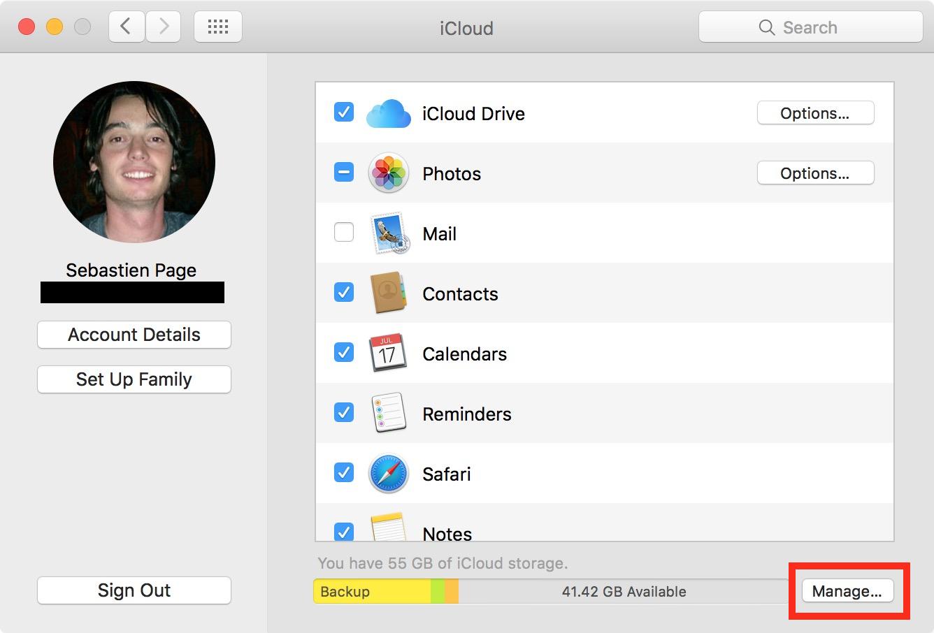 Administrar el almacenamiento de iCloud Mac
