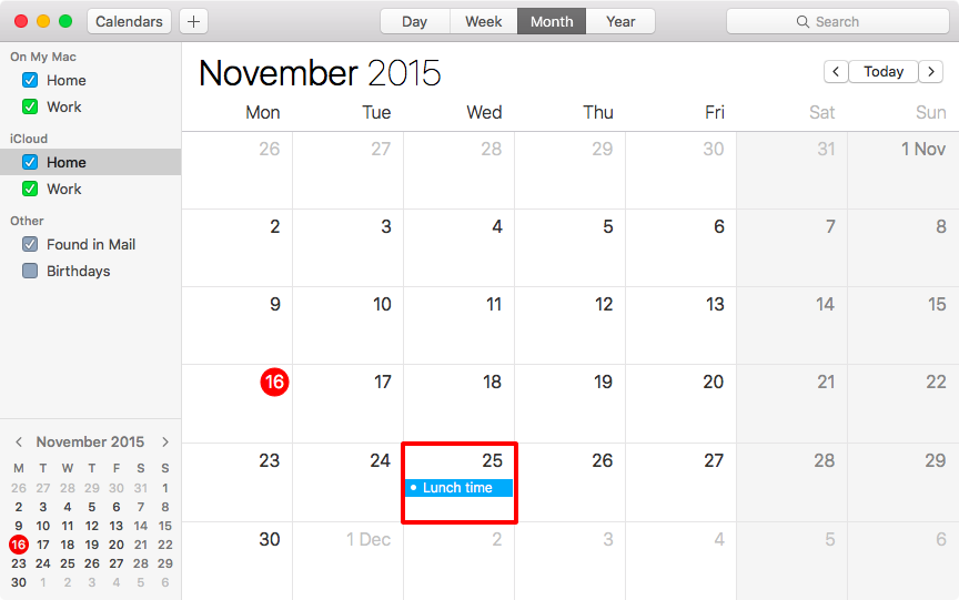 OS X El Capitan Calendar suggested events Mac screenshot 003