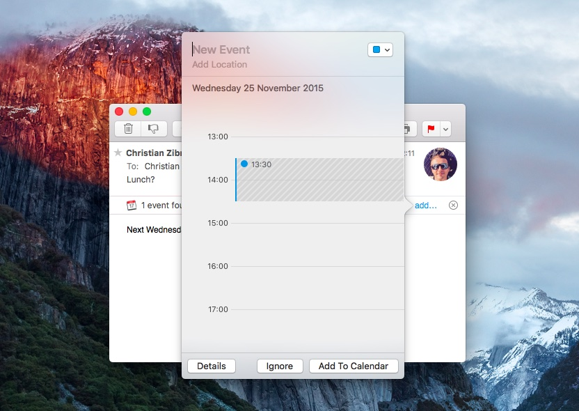 OS X El Capitan Mail suggested events Mac screenshot 002