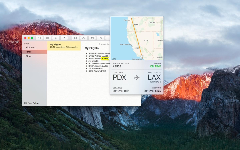 OS X El Capitan preview flight information Mac screenshot 001
