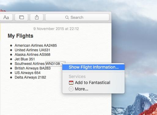 OS X El Capitan preview flight information Mac screenshot 002