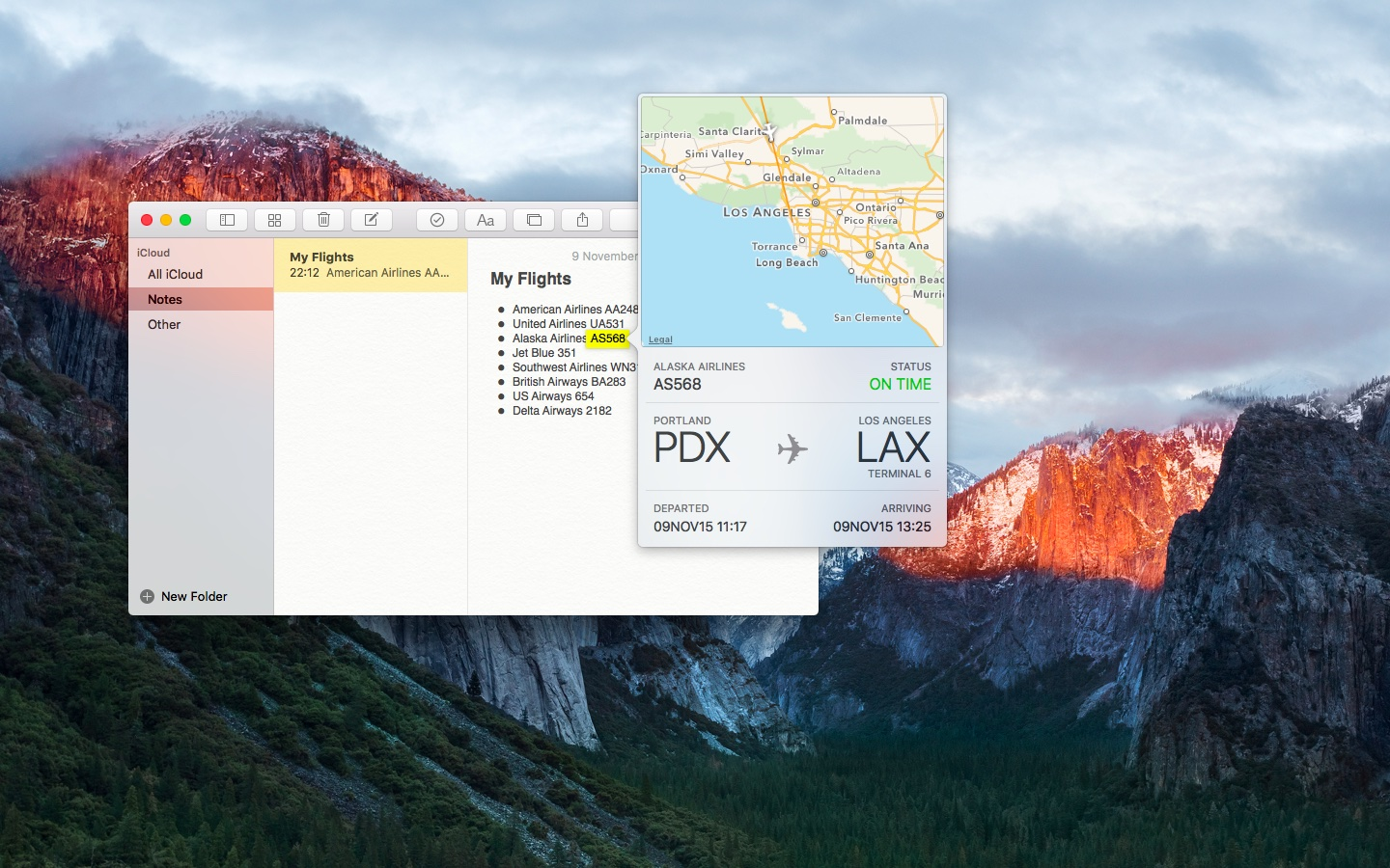 OS X El Capitan preview flight information Mac screenshot 003