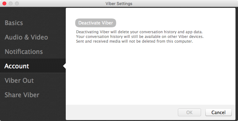 Viber deactivate account Mac screenshot 001