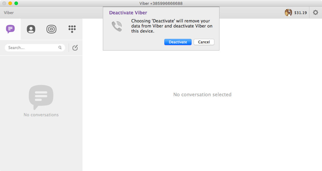 Viber deactivate account Mac screenshot 002