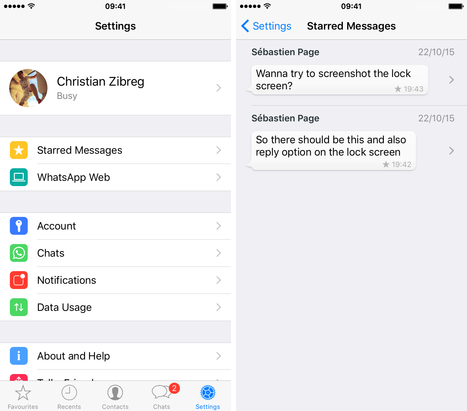 WhatsApp Peek and Pop iPhone 6s captura de pantalla 002