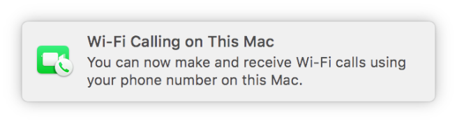 Wi-Fi Calling Mac notification screenshot