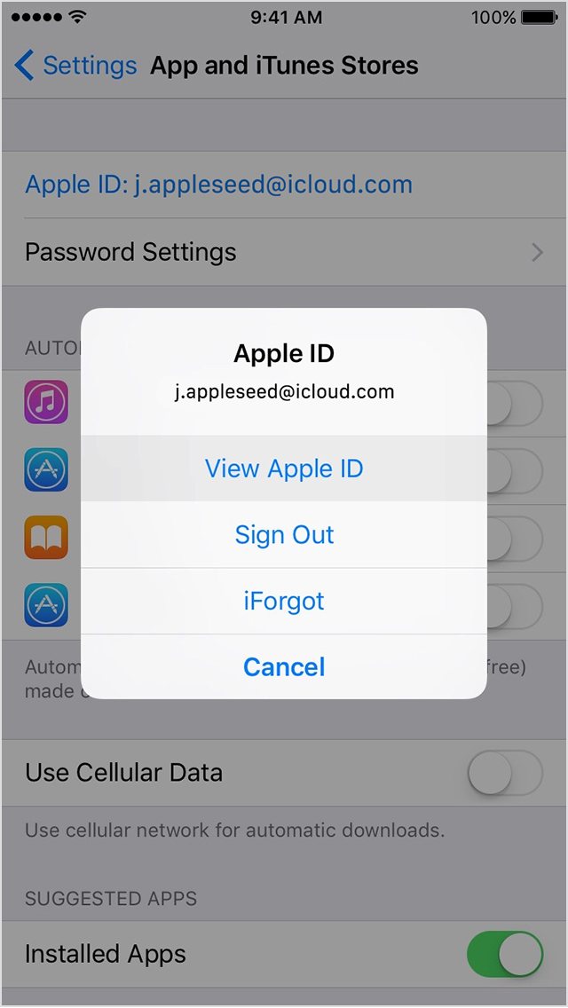 iOS 9 App Store Ver Apple ID iPhone captura de pantalla 001