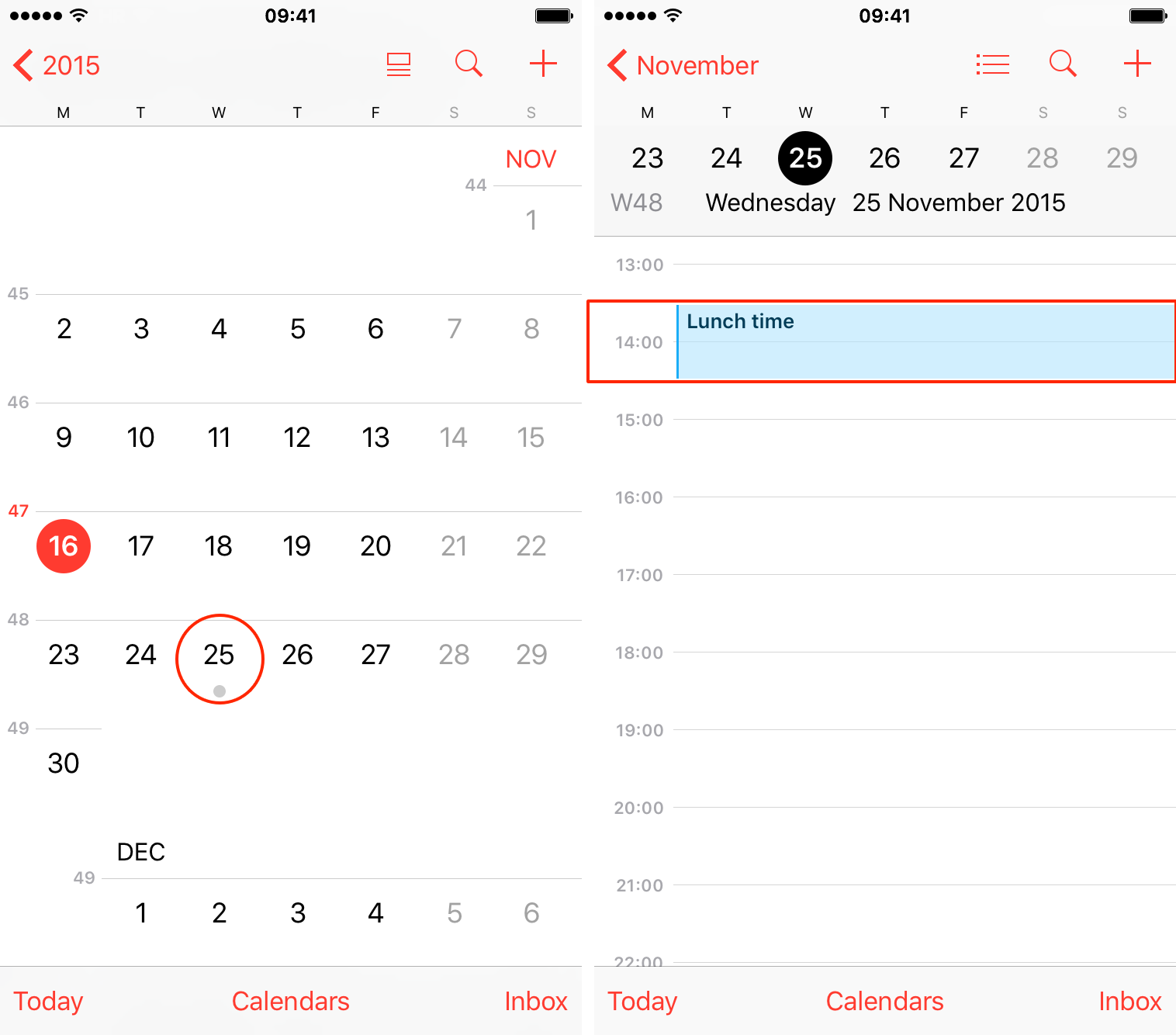 iOS 9 Calendar suggested events iPhone screenshot 002