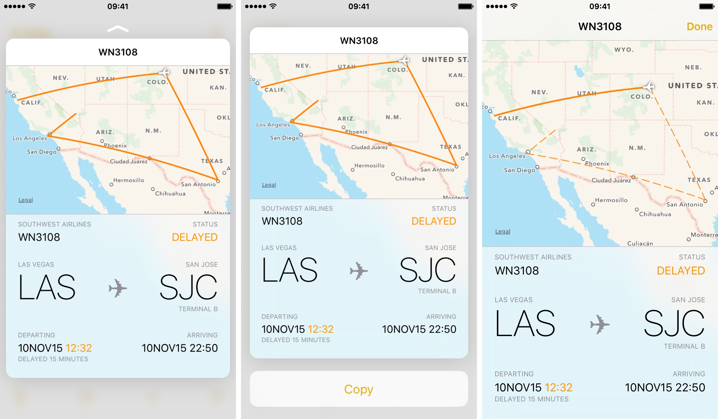 iOS 9 Notes preview flight information 3D Touch iPhone screenshot 002