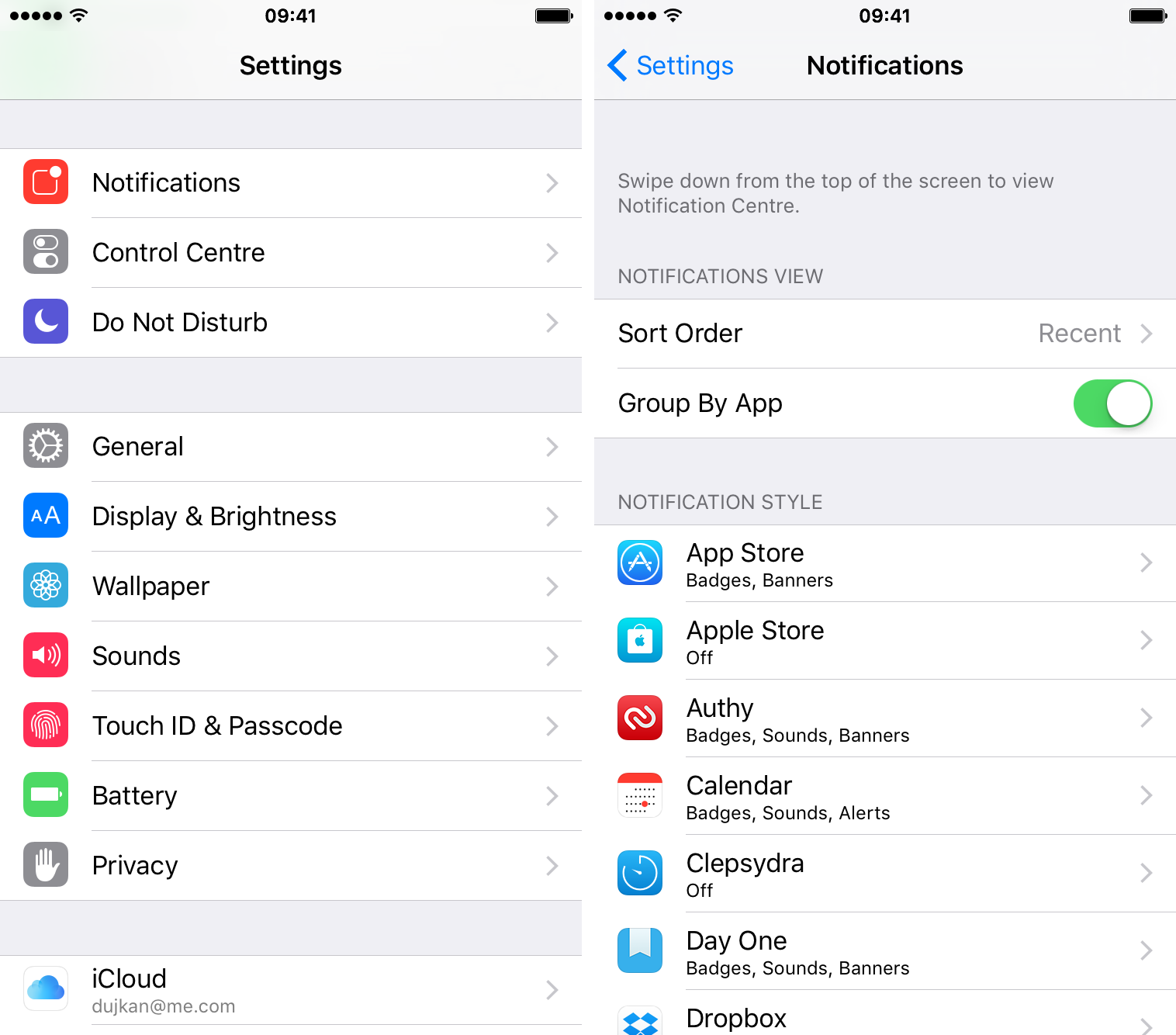 iOS 9 Settings Notifications Group by App iPhone screenshot 001