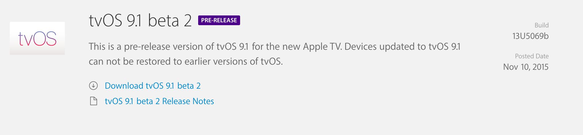tvOS 9.1 beta 2