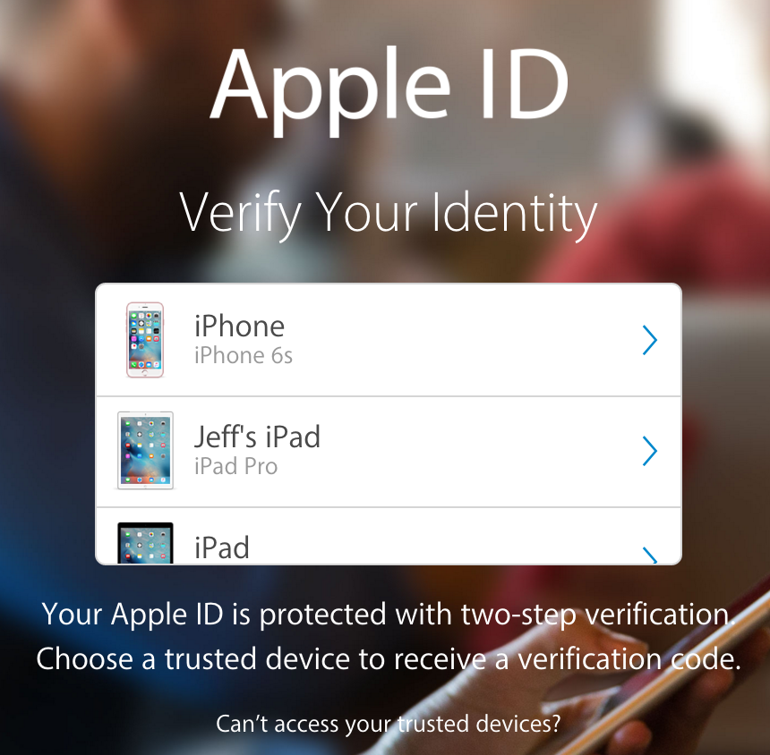 Apple ID Two Step Authentication