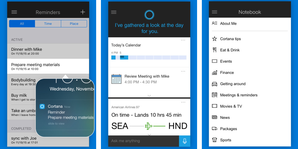 Cortana 1.2.1 for iOS iPhone screenshot 001