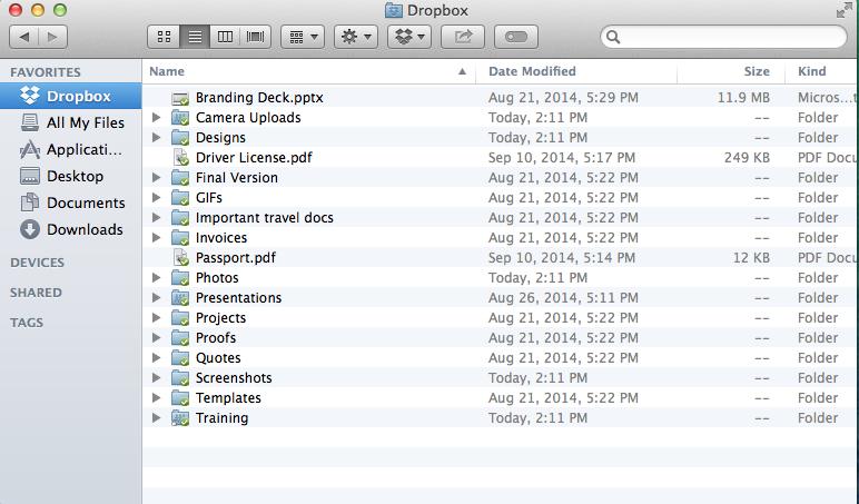 Iconos de Dropbox para OS X Finder Captura de pantalla de Mac 001