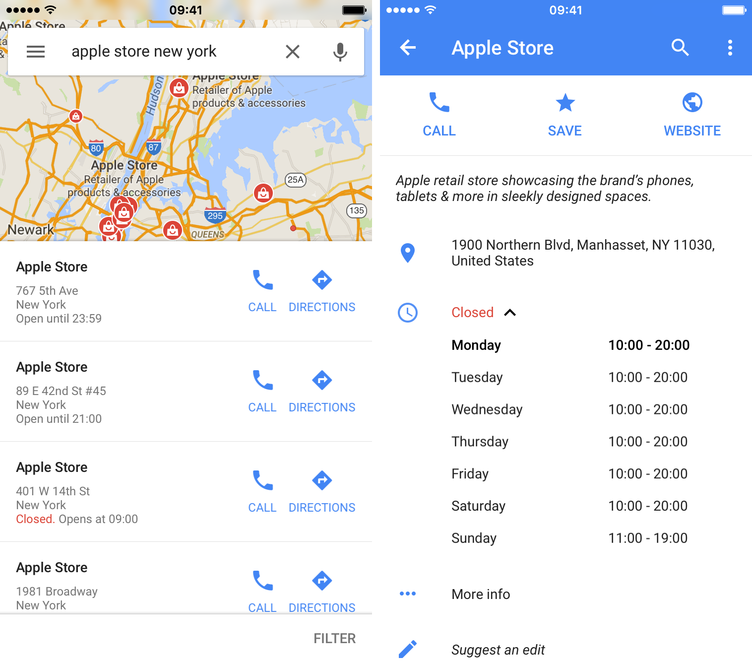Google Maps 4.13 for iOS business hours iPhone screenshot 001
