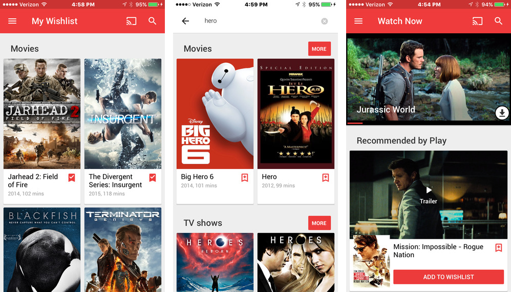 Google Play Movies and TV 2.0 for iOS iPhone screenshot 001