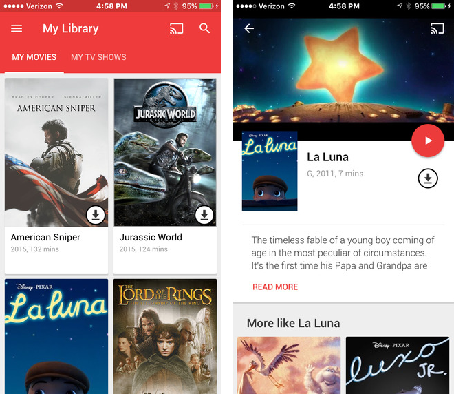 Google Play Movies and TV 2.0 for iOS iPhone screenshot 002