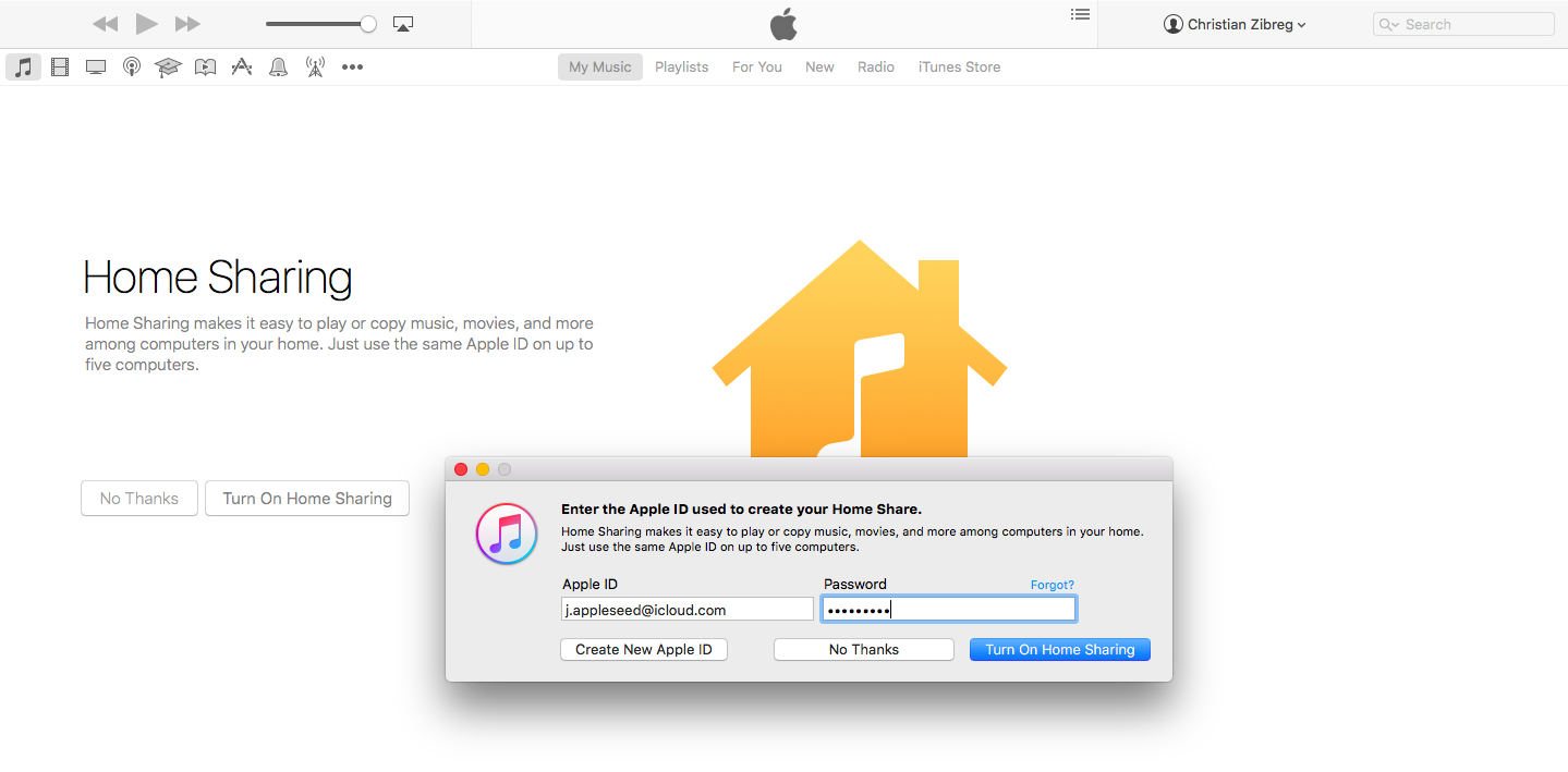 Home Sharing sign in iTunes Mac screenshot 004